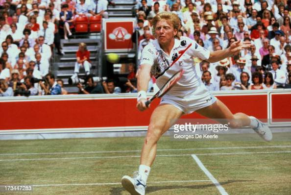 Tennis player Boris Becker during the final match of the Stella Artois Championships held at the Queen's Club lost against Ivan Lendl on June 17 1990...