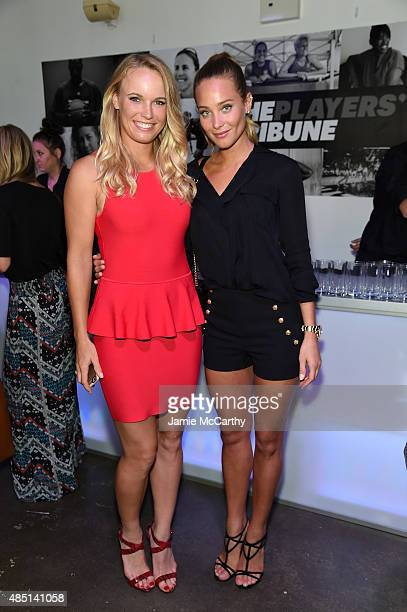 Tennis player Caroline Wozniacki and model Hannah Davis attend the Player's Tribune party to celebrate women in sports and the 2015 US Open on August...