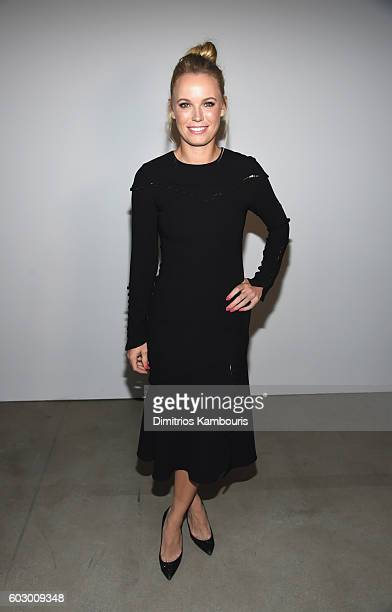 Tennis Player Caroline Wozniacki attends the Prabal Gurung fashion show during New York Fashion Week The Shows September 2016 at The Gallery Skylight...