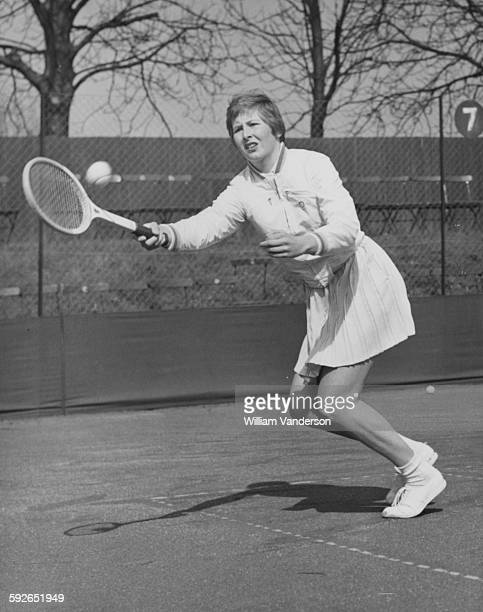 Tennis player Christine Truman in action against Miss Simmons at Roehampton England April 1st 1958