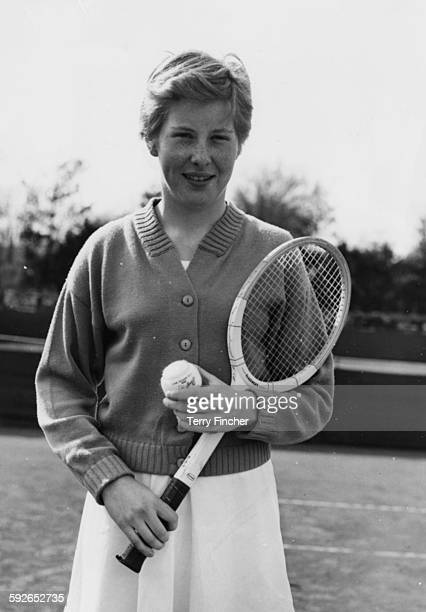 Tennis player Christine Truman pictured at the Surrey Hard Court Championships at Roehampton April 6th 1956