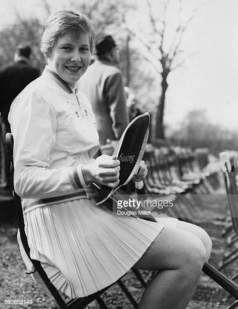 Tennis player Christine Truman taking a seat before her match against M Symmons at the Surry Hard Court Championships at Roehampton April 1st 1958