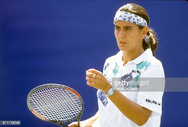 Tennis player Conchita Martinez of the Spain looks on during the women 1994 US Open Tennis Tournament at the USTA National Tennis Center in the...