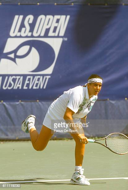 Tennis player Conchita Martinez of the Spain serves during the women 1994 US Open Tennis Tournament at the USTA National Tennis Center in the Queens...