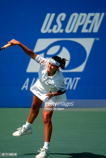 Tennis player Conchita Martinez of the Spain serves during the women 1995 US Open Tennis Tournament at the USTA National Tennis Center in the Queens...