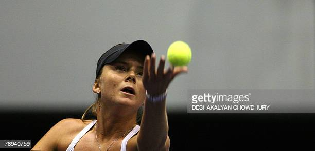 Tennis player Daniela Hantuchova of Slovakia serves to Yung Jan Chan of Taipei during a quarter final round match of the Sunfeast Open 2007 a Tier...