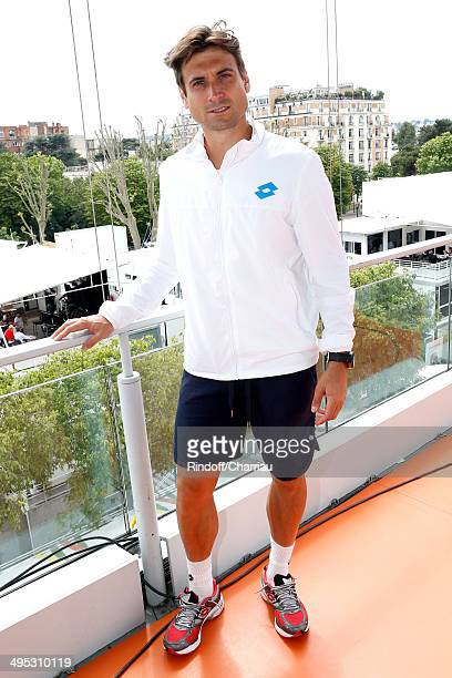Tennis player David Ferrer poses at France Television french chanels studio whyle the Roland Garros French Tennis Open 2014 Day 9 on June 2 2014 in...