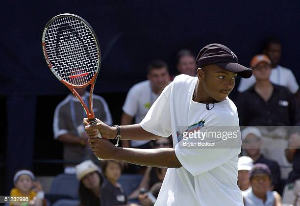 Tennis Player Donald Young plays a game to raise money for chairty during Arthur Ashe day at the US Open August 28 2004 in New York City