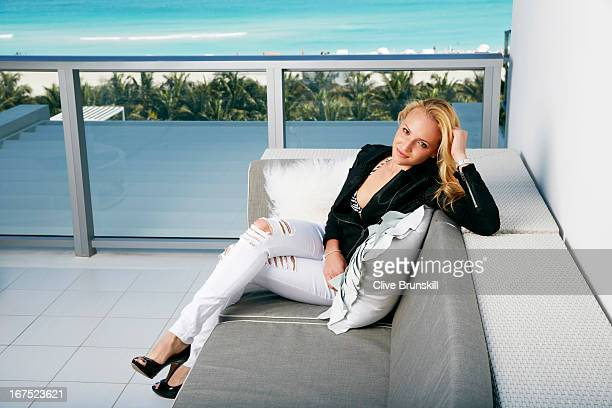 Tennis player Donna Vekic is photographed at the Miami South Beach W Hotel Penthouse Suite on March 26 2013 in Miami Florida