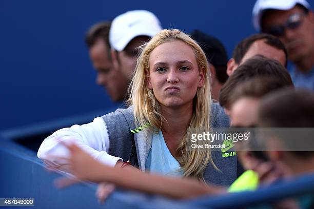 Tennis player Donna Vekic of Croatia watches Stan Wawrinka of Switzerland play Ruben Bemelmans of Belgium during their Men's Singles Third Round...