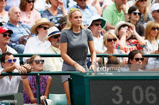 Tennis player Donna Vekic of Croatia watches the Gentlemen's Singles Third Round match between Stanislas Wawrinka of Switzerland and Fernando...