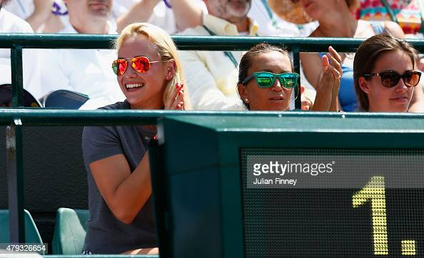 Tennis player Donna Vekic of Croatia watches the Gentlemen's Singles Third Round match between Stanislas Wawrinka of Switzerland and Fernando...