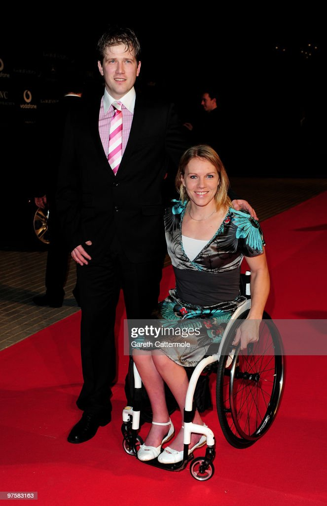 Tennis Player <a gi-track='captionPersonalityLinkClicked' href=/galleries/search?phrase=Esther+Vergeer&family=editorial&specificpeople=622149 ng-click='$event.stopPropagation()'>Esther Vergeer</a> and guest attend the Laureus Welcome Party part of the Laureus Sports Awards 2010 at the Fairmount Hotel on March 9, 2010 in Abu Dhabi, United Arab Emirates.