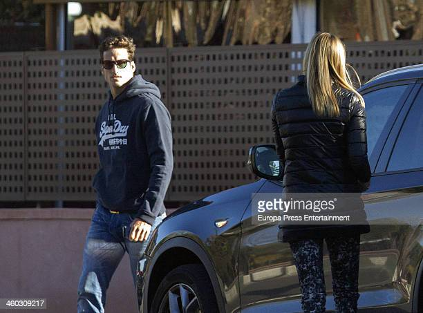 Tennis player Feliciano Lopez and his girlfriend Alba Carrillo are seen leaving a restaurant on December 13 2013 in Madrid Spain