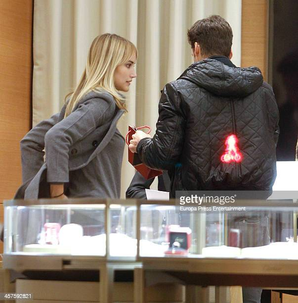 Tennis player Feliciano Lopez and his girlfrirend Spanish model Alba Carrillo are seen going for Christmas shopping on December 17 2013 in Madrid...