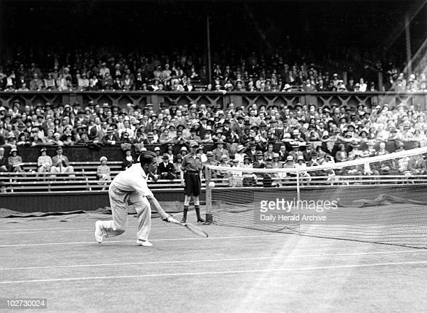 Tennis player Fred Perry in action at Wimbledon 1931 Tennis player Fred Perry in action during the Wimbledon Tennis Championship Tournament 23 June...