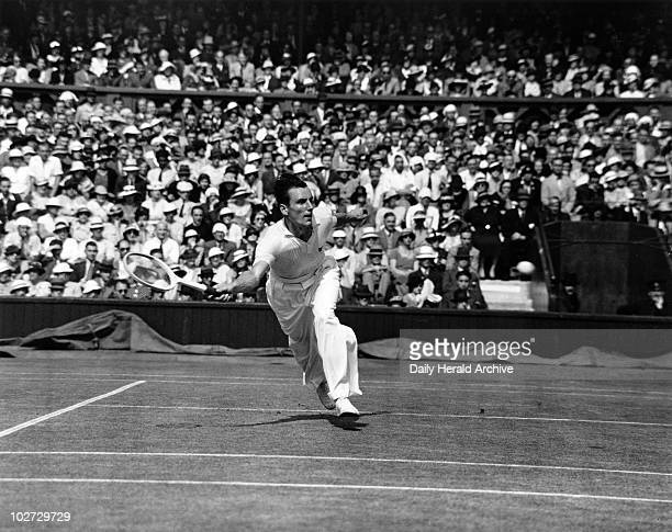 Tennis player Fred Perry in action during Wimbledon 5 July 1935 During his professional career Fred Perry won every major amateur title including the...