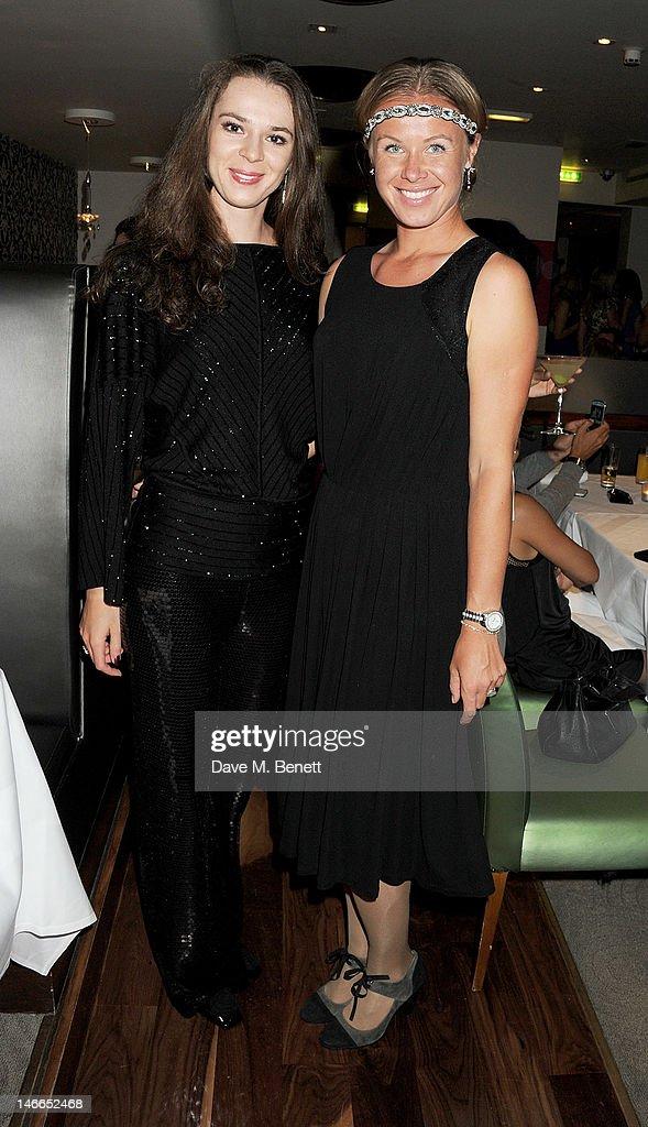 Tennis player Galina Voskoboeva and Vera Dushevina attend the WTA PreWimbledon Party presented by Dubai Duty Free at Kensington Roof Gardens on June...