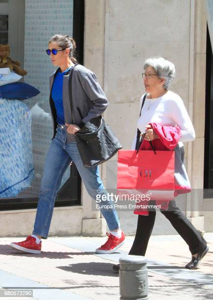 Tennis player Garbiñe Muguruza and her mother Scarlet Blanco are seen on May 8 2017 in Madrid Spain