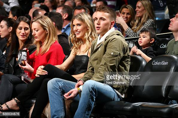 Tennis player Genie Bouchard is seen with her date during the game between the Brooklyn Nets and the Milwaukee Bucks on February 15 2017 at Barclays...