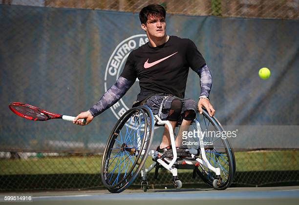 Tennis player Gustavo Fernandez of Argentina during an exclusive portrait session at Centro Asturiano de Buenos Aires on August 26 2016 in Vicente...