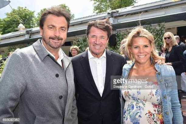 Tennis Player Henri Leconte Politician Christian Estrosi and his wife journalist Laura Tenoudji attend the 2017 French Tennis Open Day Ten at Roland...