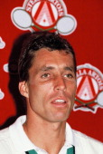 Tennis player Ivan Lendl attends a press conference after winning the final match of the Stella Artois Championships held at the Queen's Club against...