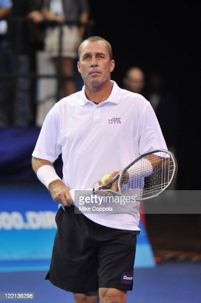 Tennis player Ivan Lendl plays in an exhibition match during the DIRECTV Old School Challenge Presented by ESPN at the 69th Regiment Armory on August...