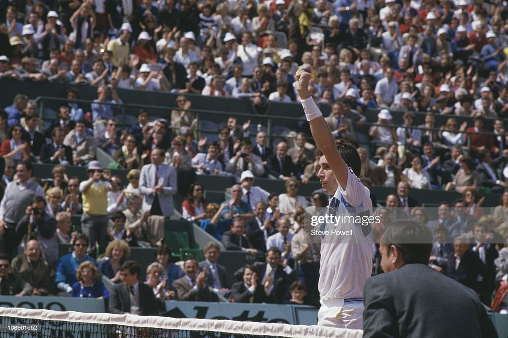 Tennis player Ivan Lendl wins the Men's Singles title at the 1984 French Open in Paris.