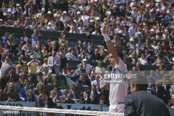 Tennis player Ivan Lendl wins the Men's Singles title at the 1984 French Open in Paris