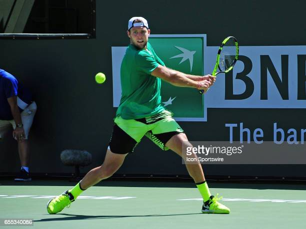 ATP tennis player Jack Sock in action during the second set of a match against Roger Federer on March 18 during the BNP Paribas Open played at the...