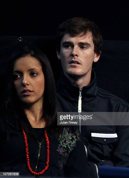 Tennis player Jamie Murray and wife Alejandra Gutierrez attend the Roger Federer / Andy Murray Men's singles match during the ATP World Tour Finals...
