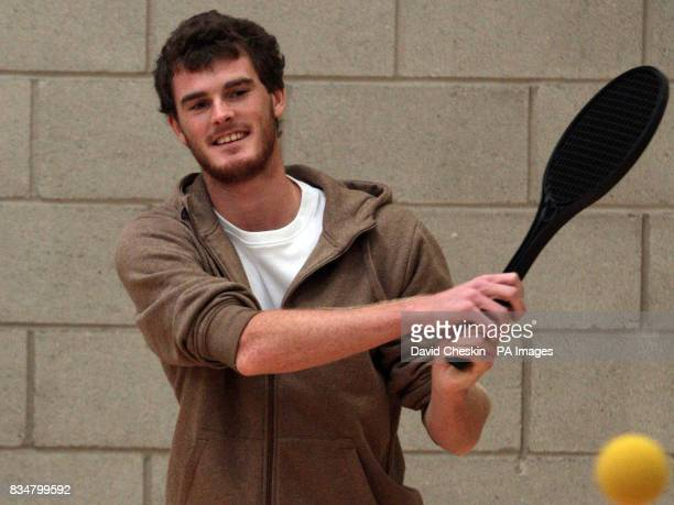 Tennis player Jamie Murray plays a game of tennis after returning to Dunblane to open the new high school