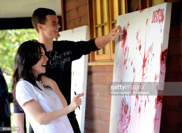 Tennis player Jamie Murray with Actress Jaime Murray during a photo call at Wimbledon Park in Wimbledon