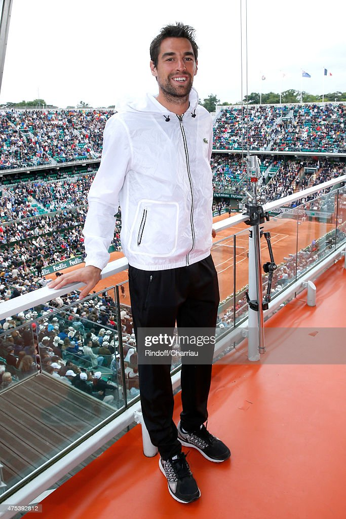Tennis Player Jeremy Chardy poses at France Television french chanel studio during the 2015 Roland Garros French Tennis Open - Day Eight, on May 31, 2015 in Paris, France.