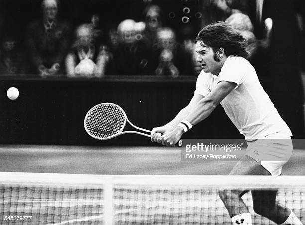 US tennis player Jimmy Connors during his singles final match against Arthur Ashe at Wimbledon Tennis Championships England July 5th 1975