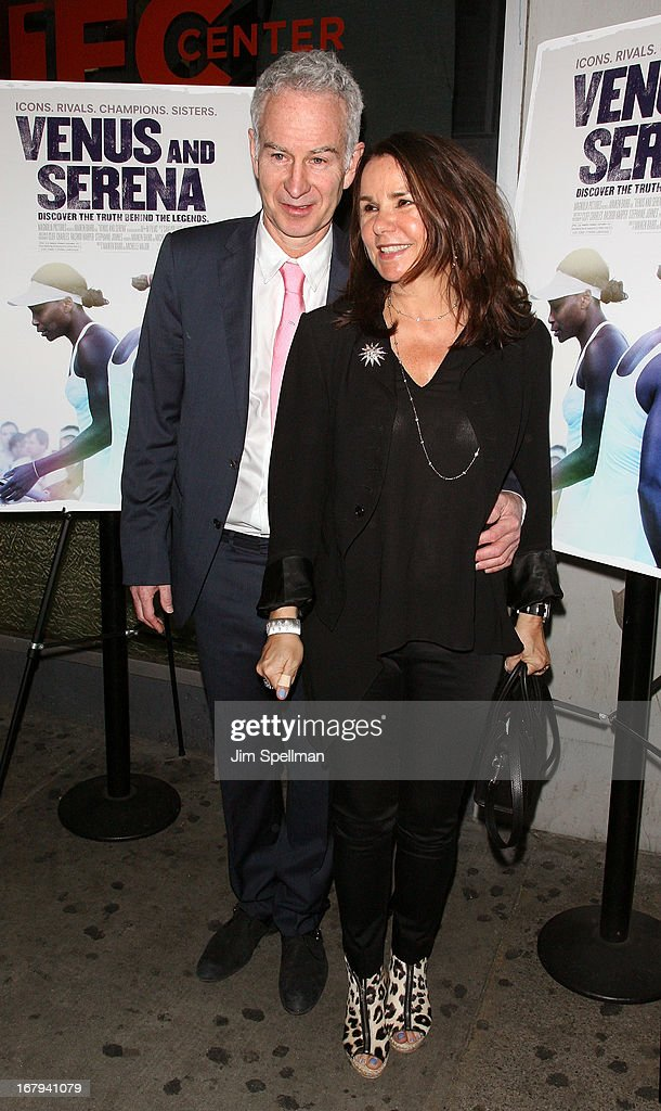 Tennis Player <a gi-track='captionPersonalityLinkClicked' href=/galleries/search?phrase=John+McEnroe&family=editorial&specificpeople=159411 ng-click='$event.stopPropagation()'>John McEnroe</a> and wife singer <a gi-track='captionPersonalityLinkClicked' href=/galleries/search?phrase=Patty+Smyth+-+Lead+Singer+of+Scandal&family=editorial&specificpeople=213159 ng-click='$event.stopPropagation()'>Patty Smyth</a> attend the 'Venus And Serena' New York Screening at IFC Center on May 2, 2013 in New York City.