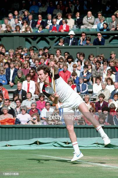 Tennis player John McEnroe plays in a singles match during the 1979 Wimbledon Tennis Championships at the club in Wimbledon UK on Monday June 25 1979...