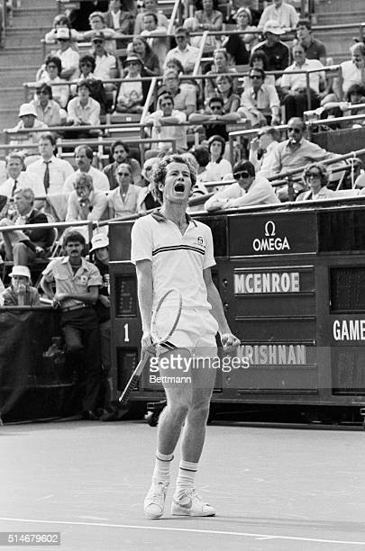 Tennis player John McEnroe starts screaming during a 1981 US Open match against Ramesh Krishnan