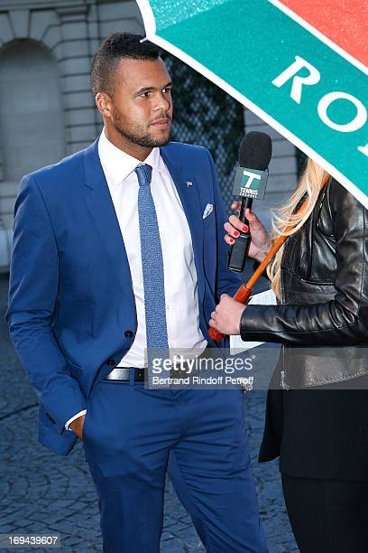Tennis Player JoWilfried Tsonga and Commentator Tatiana Golovin attend Annual Photocall for Roland Garros Tennis Players at 'Residence De...