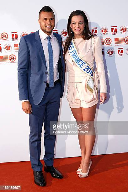Tennis Player JoWilfried Tsonga and Miss France 2013 Marine Lorphelin attend Annual Photocall for Roland Garros Tennis Players at 'Residence De...