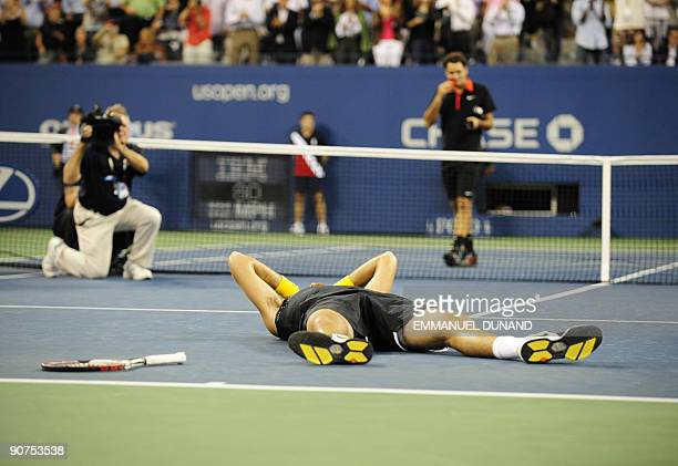 Tennis player Juan Martin Del Potro from Argentina celebrates after beating Roger Federer from Switzerland during the final of the 2009 US Open at...