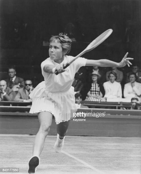 US tennis player Karen Hantze later Susman in play against Ann Haydon of Great Britain during the Wightman Cup at Wimbledon London 10th June 1960...