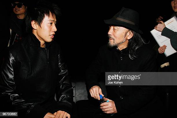 Tennis player Kei Nishikori and designer Yohji Yamamoto attend Y3 Fall 2010 during MercedesBenz Fashion Week at Park Avenue Armory on February 14...