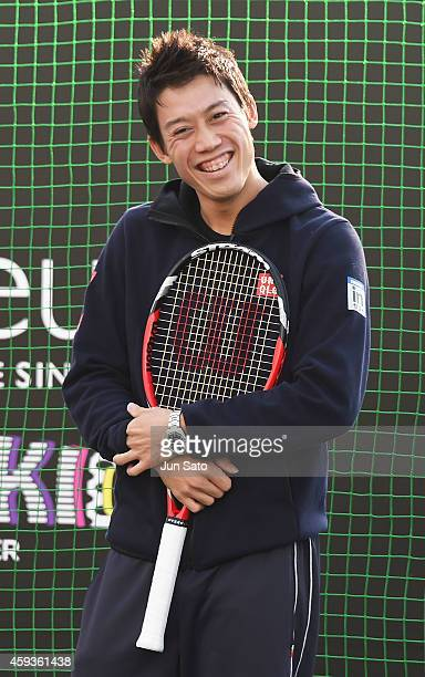 Tennis player Kei Nishikori attends 'Kei For Kids By Tag Heuer' at Matsuya Ginza Department Store on November 21 2014 in Tokyo Japan