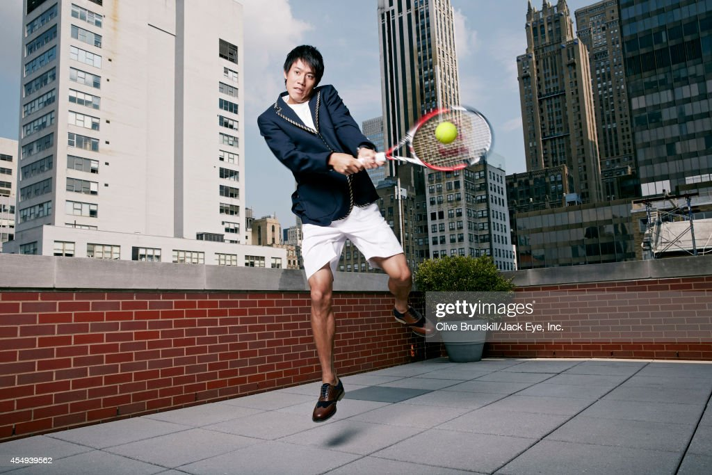 Tennis player <a gi-track='captionPersonalityLinkClicked' href=/galleries/search?phrase=Kei+Nishikori&family=editorial&specificpeople=4432498 ng-click='$event.stopPropagation()'>Kei Nishikori</a> is photographed at the Kitano hotel in New York City on August 28, 2013.