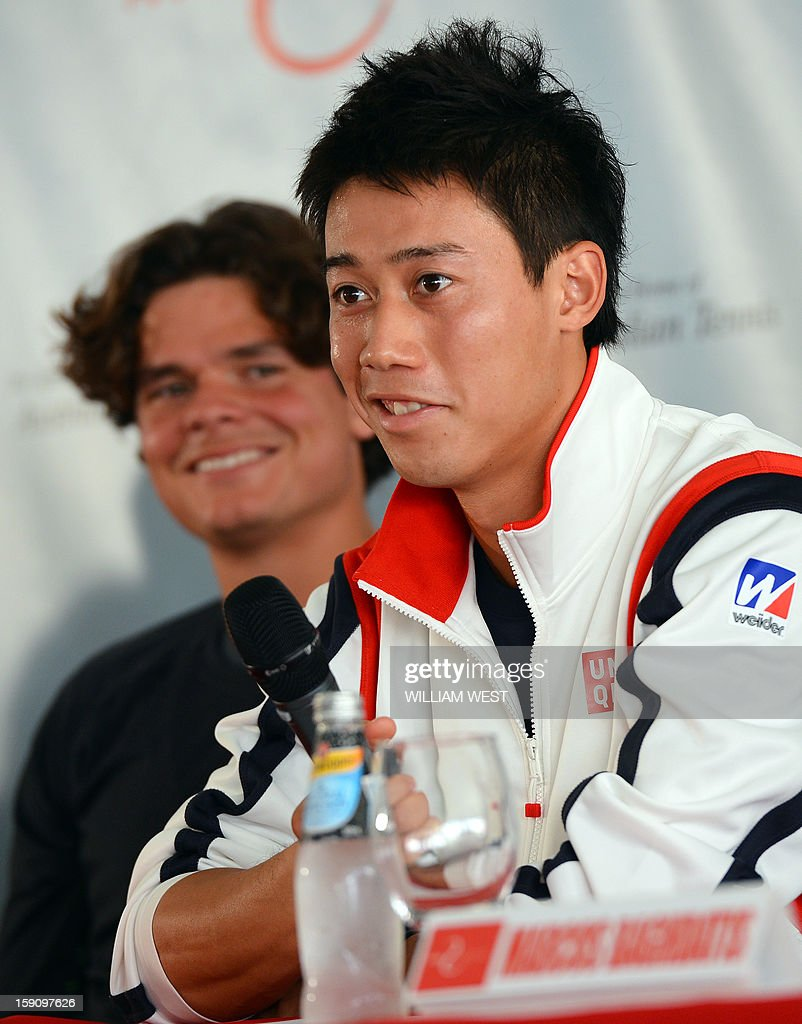 Tennis player Kei Nishikori of Japan (R) answers a question as Milos Raonic of Canada (L) listens at a press conference at the Kooyong Classic in Melbourne on January 8, 2013. An invitational event which features seven top male players ranked in the top 20, the Kooyong Classic is used by the players as a warm-up for the Australian Open which runs January 14-27. AFP PHOTO/William WEST IMAGE