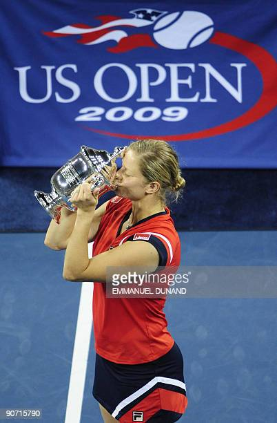 Tennis player Kim Clijsters from Belgium celebrates after winnings against Caroline Wozniacki from Denmark during the Women's final of the 2009 US...
