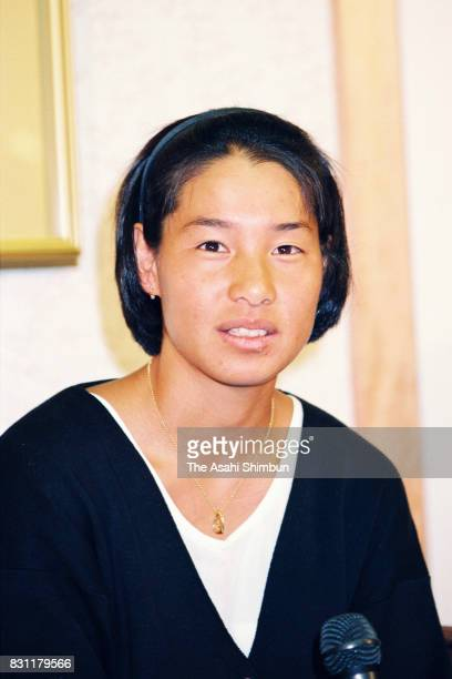 Tennis player Kimiko Date speaks during a press conference at Narita International Airport on September 10 1993 in Narita Chiba Japan
