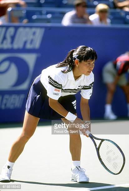 Tennis player Kimiko DateKrumm of Japan in action during the women 1995 US Open Tennis Tournament circa 1995 at the USTA National Tennis Center in...